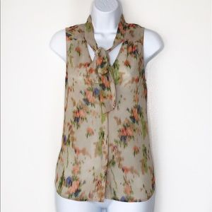 HALOGEN. Semi sheer taupe floral blouse